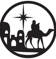 adoration magi silhouette icon black white vector image