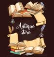 antique books shop vintage sketch poster vector image vector image