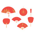 asian fans red hand traditional fan set isolated vector image vector image