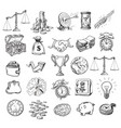 big business symbols set sketch style vector image vector image