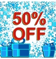 Big winter sale poster with 50 PERCENT OFF text vector image vector image