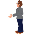 Cartoon man in gray jacket and blue pants back