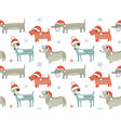 christmas seamless pattern with cute cartoon dogs vector image