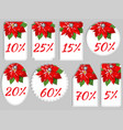 christmas winter set of sale and discount tags vector image