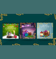 collection christmas greeting square postcards vector image