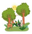 cute animals reindeer toucan and rabbit grass vector image vector image