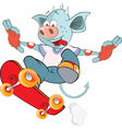 Cute Devil Skateboarding Cartoon vector image vector image