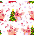 cute seamless pig pattern wth intellegent and vector image vector image