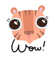 cute tiger head with big eyes on white background vector image vector image