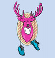 deer head cartoon pink deer vector image