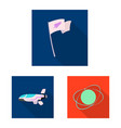 design of mars and space icon set of mars vector image