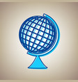 earth globe sign sky blue icon with vector image vector image