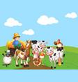 farm scene with animal cartoon style vector image