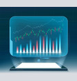 financial graphs and charts on projection screen vector image