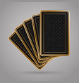 five playing cards in black and gold design vector image vector image