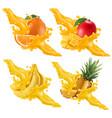 fruits and berries in splash juice banana vector image vector image