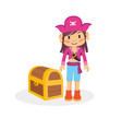 funny character of girl pirate vector image