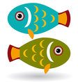 Green and blue fish on a white background vector image vector image