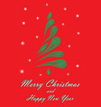 green elegant christmas tree on a red background vector image vector image