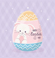 happy easter drawing rabbit in egg decoration vector image