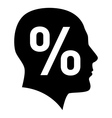 Human face with percent sign vector image vector image