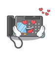 in love fax machine above cartoon table vector image vector image