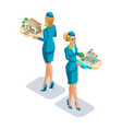 isometry of a stewardess girl with leisure vector image vector image