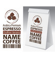 label and paper packaging for coffee beans vector image vector image