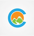 letter c with mountain graphic vector image vector image