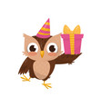 lovely little owlet wearing party hat holding gift vector image vector image