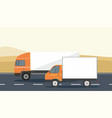 orange cargo delivery truck and van vector image
