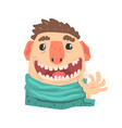patient of a dentist cartoon character holding a vector image