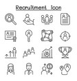 recruitment job icon set in thin line style vector image