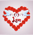 red flower heart vector image vector image