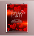 red sketch hearts valentines day flyer template vector image