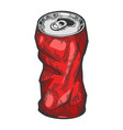 rumpled metal can color sketch engraving vector image
