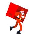 santa claus and big red bag many gifts huge vector image vector image