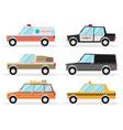 set of cartoon cars flat vector image