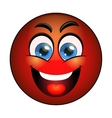 Smiling red emoticon vector image vector image