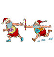 sports relay santa claus old 2019 and new 2020 vector image vector image