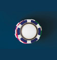 top view of casino poker chips on blue background vector image