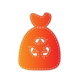 Trash bag icon Orange applique isolated vector image vector image