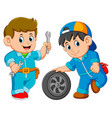 two car service man wearing uniform with car wheel vector image vector image