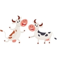 Two cows one ringing a bell and another running vector image vector image