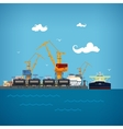 Unloading of Liquids in the Cargo Sea Port vector image vector image