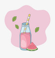 watermelon juice fruit in bottle with straw vector image vector image