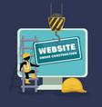 website under construction with desktop computer vector image vector image