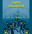 zombies running from ghastly castle vector image vector image