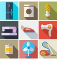 Collection modern flat icons household appliances vector image