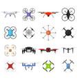 air drone color quadrocopter set vector image